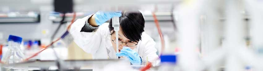 Liggins student at work in the laboratory